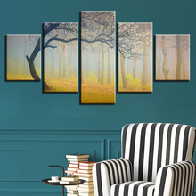HD Printed Modular Canvas Pictures Frame Art 5 Pieces Flower Tree Forest Psychedelic Landscape Posters Paintings Wall Decoration