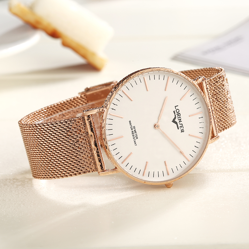 Couples Watch minimalist quartz watches Rose gold Color Lorinser Top Brand Full stainless steel Wrist Watches For Men And Women in Lover 39 s Watches from Watches
