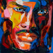 Face Francoise Nielly Pop Art high quality Hand Painted Palette knife Home Decoration Living Room Oil Painting Canvens Fine