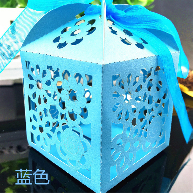 50Pc  Candy Box Free Shipping Laser Cut Flowers Delicate For Festival Party Candy Gift Box Wedding Christmas Decoration For Home