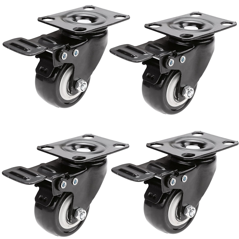 4PCS 2 Inch Mute Wheel Office Chair Swivel Casters Universal Rolling Rollers Furniture Wheels Casters With Brake 4pcs 2 50mm black office chair swivel rubber casters industrial universal brake wheels