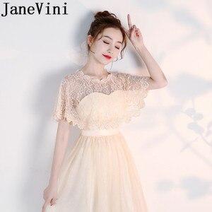 Image 5 - JaneVini Hot Selling Black Evening Shrug White Lace Bridal Wrap Boleros Cape Etole Mariage Women Short Wedding Bolero Jacket