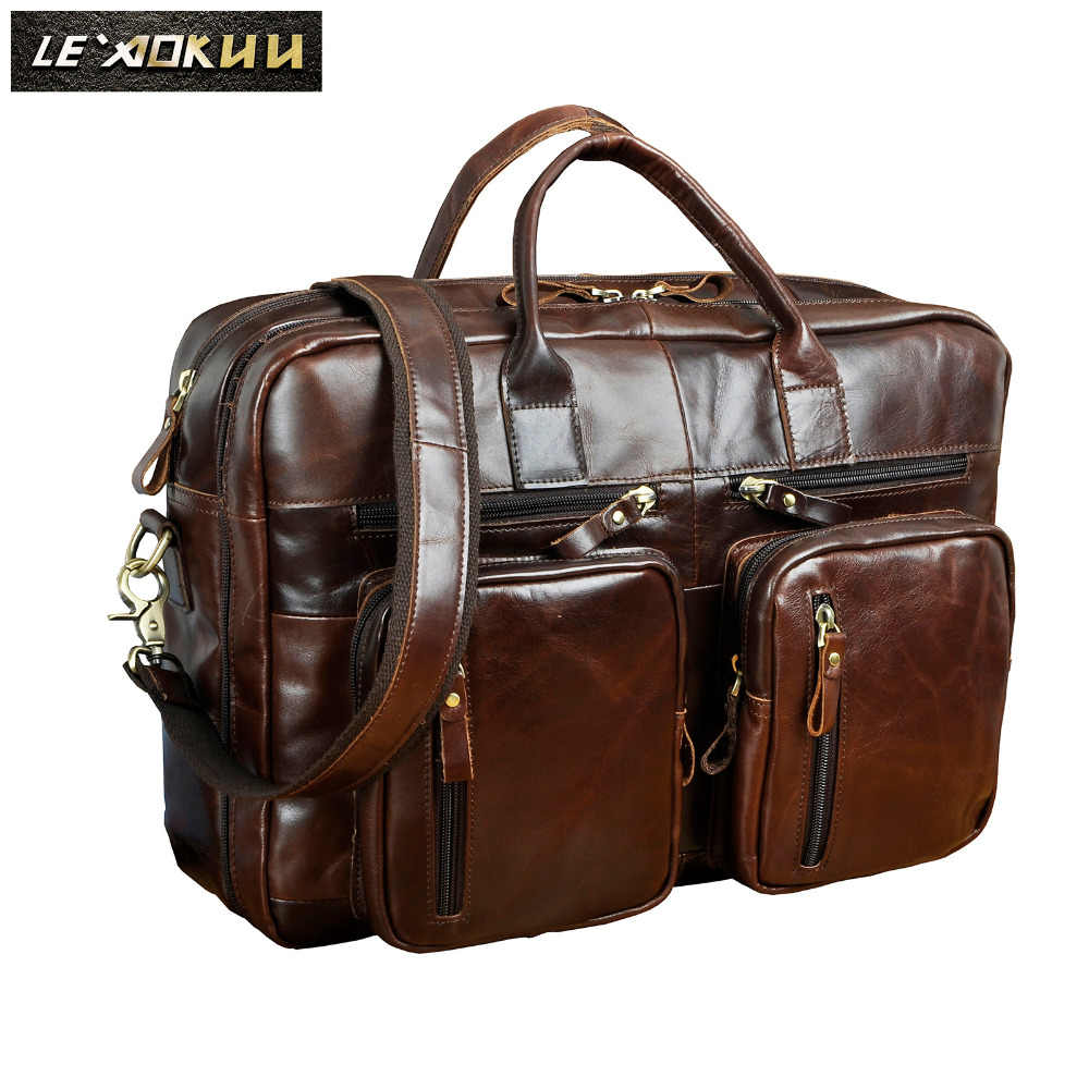 4fc84c26fdb0 Quality Leather Man bag design Large Organizer Travel Business briefcase 15