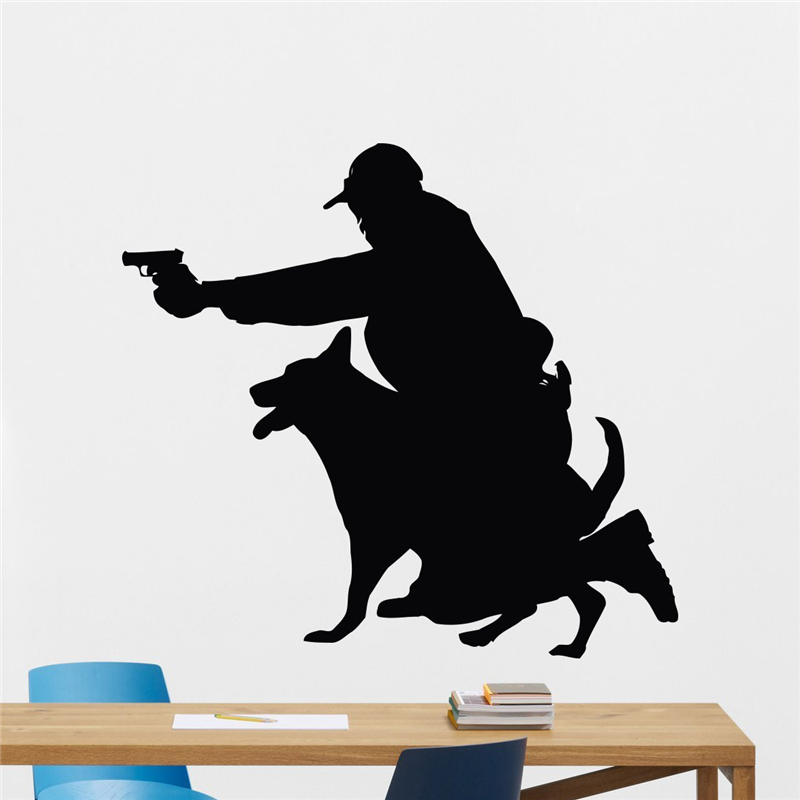 Female Police Officer And K-9 Dog Wall Decal Cynologist Wall Sticker Hunting Dog Vinyl Sticker Living Room Home Decor X398