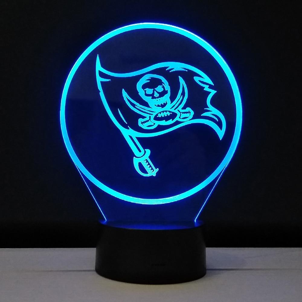 3d glow night lights team logo tampa bay buccaneers table. Black Bedroom Furniture Sets. Home Design Ideas