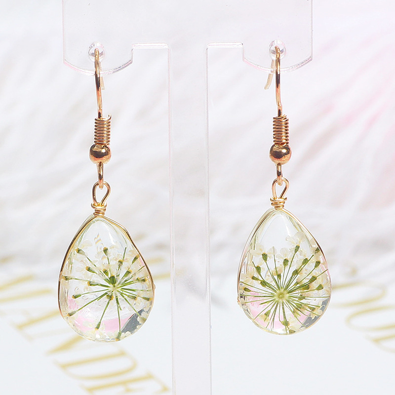 New Design Glass Water Drop Shaped Dried Flowers Manual Plant Specimens Dangle Earring For Women Girls Ear Jewelry Gift