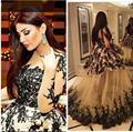 Черный вечерние платья чистой экипажа декольте кружевные аппликации бальное платье с прозрачный рукав пышная юбка платья выпускного вечера арабский