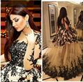 Black Evening Gowns Sheer Crew Neckline Lace Appliques Ball Gown Long Transparent Sleeve Puffy Skirt Prom Dresses Arabic