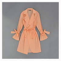 High Quality New 2018 Women Ladies Spring Summer Fashion Solid Wrap Turn Down Collar Belt Trench