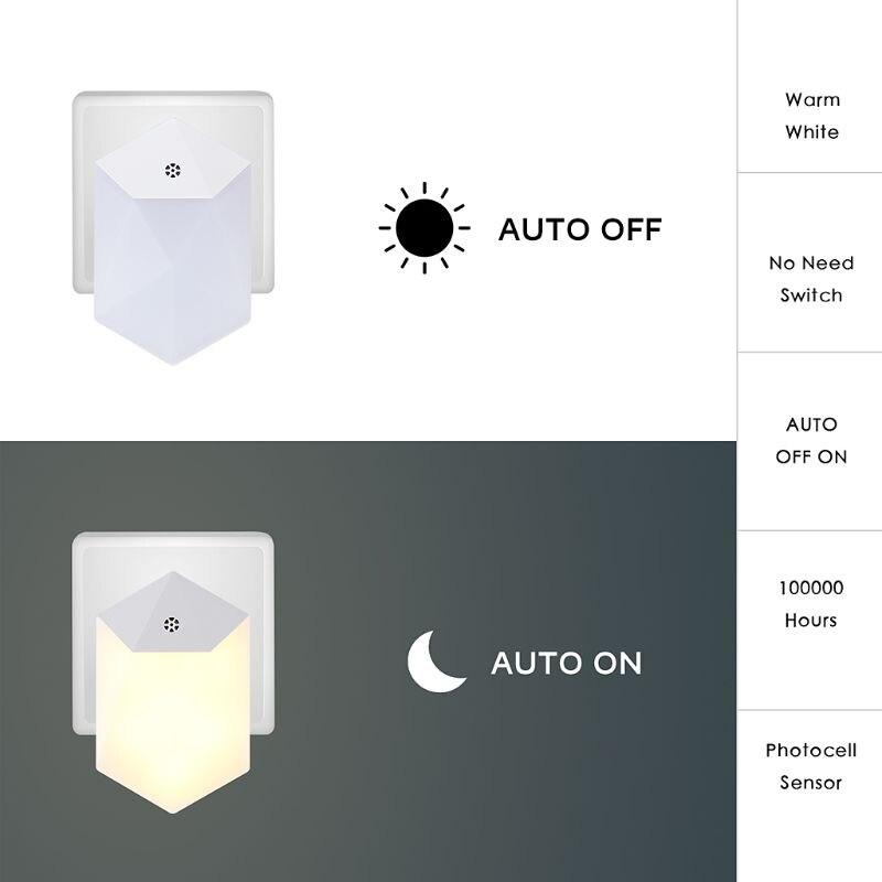 Warm LED Night Light Room Decor Light-control Sensor Wall Socket Lamp Home Bedroom Decoration F42B