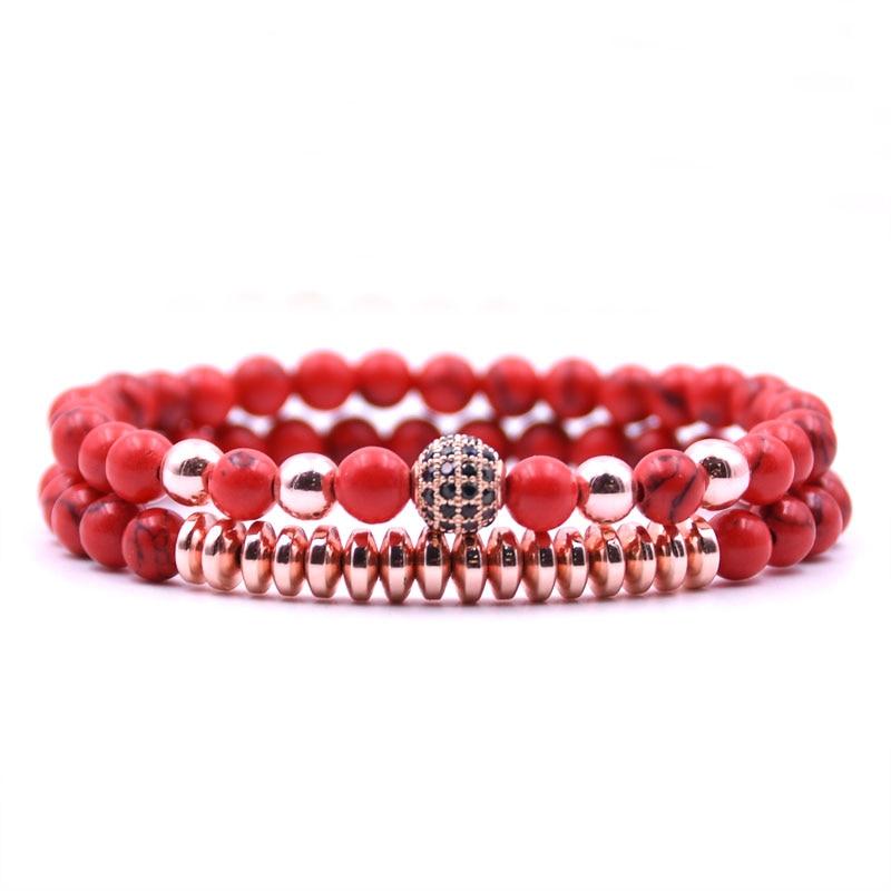 HONEYYIYI 2pcs/set Tiger eyes Natural stone 6mm beads Bracelets For Women 8mm Rose gold Micro Pave CZ Ball Charms Bracelet