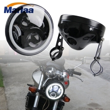 Marlaa 7 LED Headlamp font b Lamp b font Shell with Clamps for Motorbikes Honda CB400