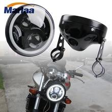 Marlaa 7 «светодиодный налобный фонарь лампа основа с зажимами для мотоциклов Honda CB400 CB1300 Suzuki Yamaha