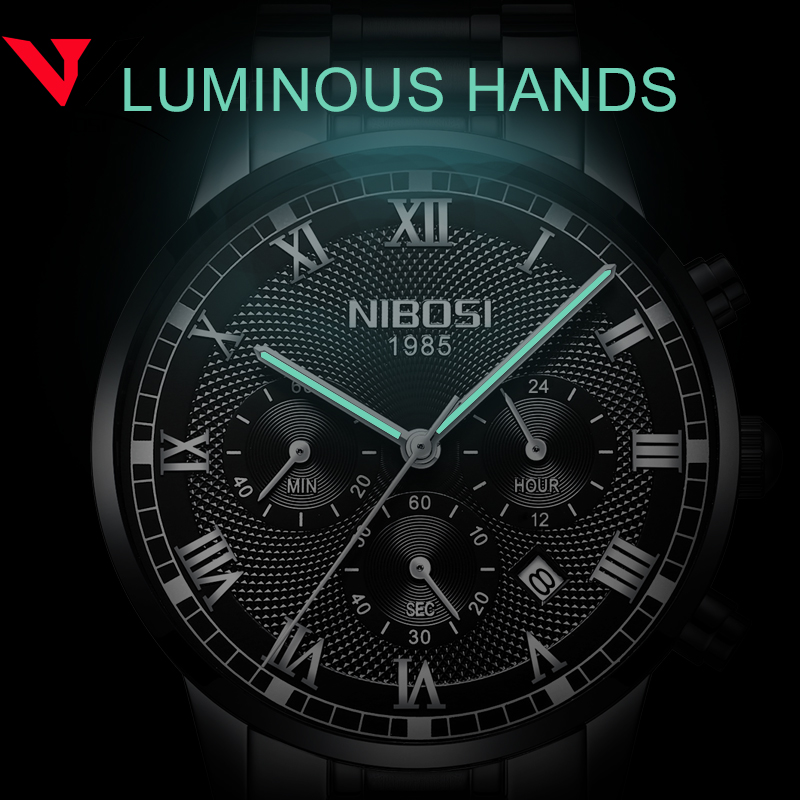 Image 5 - Relogio Masculino NIBOSI Mens Watches Top Brand Luxury Waterproof Stainless Steel Male Clock Dress Famous Business Watch Men2018-in Quartz Watches from Watches