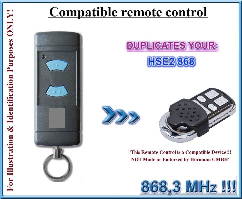 Compatible With HSE2 Blue Button Remotes 868,3MHz, Clone ( Not Made By Hormann )  Fixed Code Remote Controls Duplicator