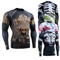 MMA Lycra Compresión Skin Tight 3D Imprime hombre de Manga Larga Camisas para Hombres Entrenamiento Crossfit Gimnasio Body Building Tops Camisetas