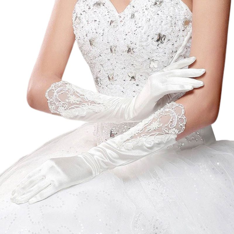 Bride Full Finger Long White Gloves Fashion Wedding Dress Accessories Lace Glove Party Cosplay Props