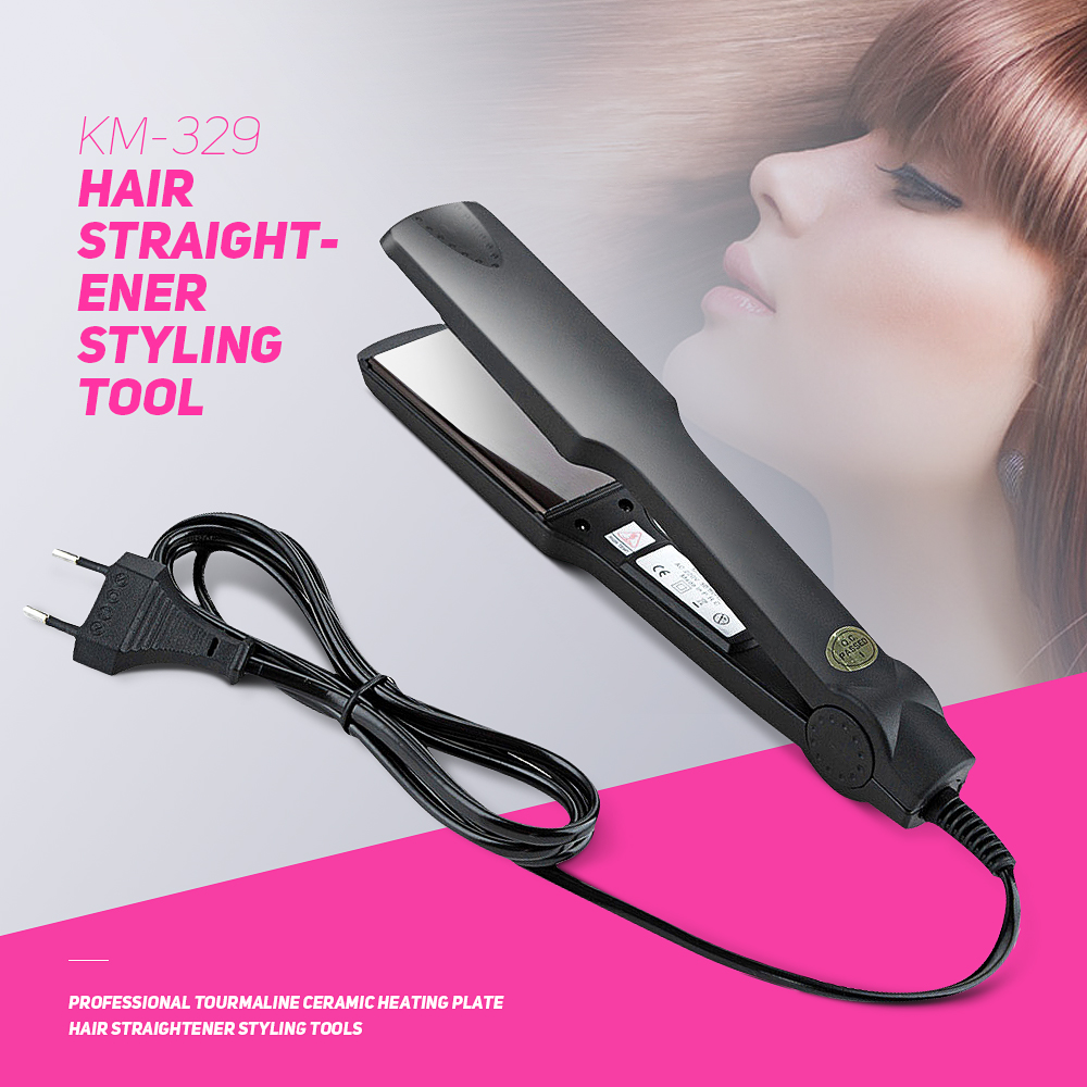 KEMEI KM-329 Professional Tourmaline Ceramic Heating Plate Hair Straightener Styling Tools Fast Warm-up Thermal Performance