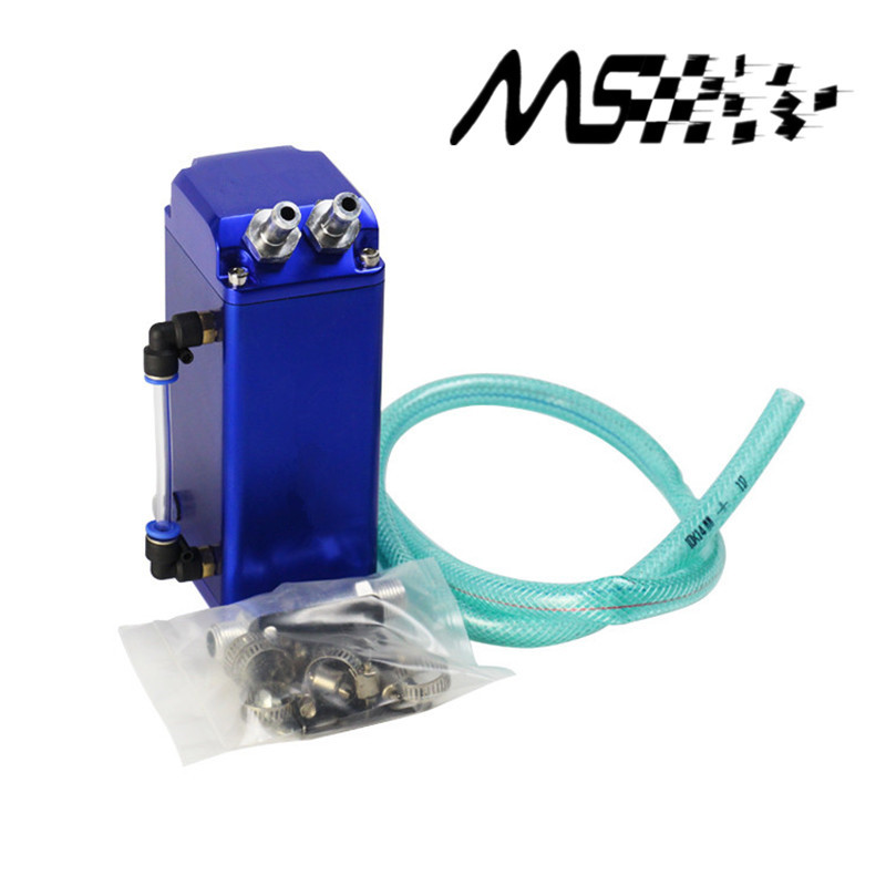 Universal 9mm/15MM Racing Oil Catch tank Square aluminum Sliver fuel tank Oil Catch Can 0.75L with logo