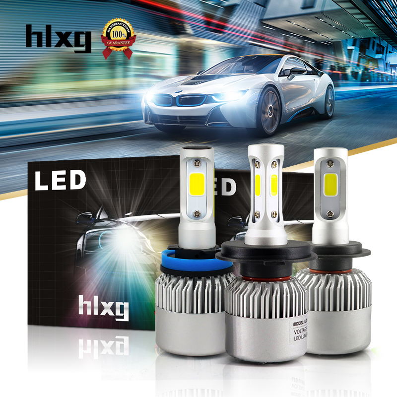 Hlxg 72W 8000Lm/set H11 H7 H1 Led Car Headlight 12V Super Bright 6000K Auto Car Lamp Automobile Conversion Kit 8000Lm All In One 2pcs h1 led automobile headlight car styling 6000k super bright conversion kit auto head lights