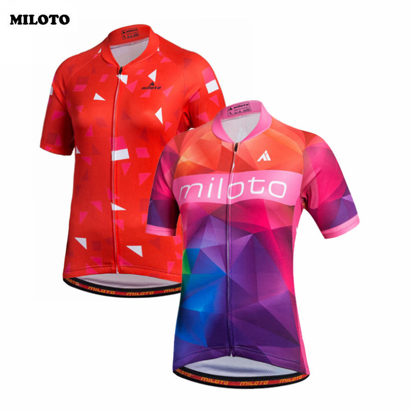 045afbd22 MILOTO Pro Team Short Sleeve Ropa Ciclismo Bike Bicycle Women Tops Team  Outdoor Cycling Jersey Shirts S-4XL