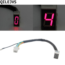 QILEJVS 7- Line Modified Motorcycle LED Digital Gear Indicator Shift Lever Sensor- Red