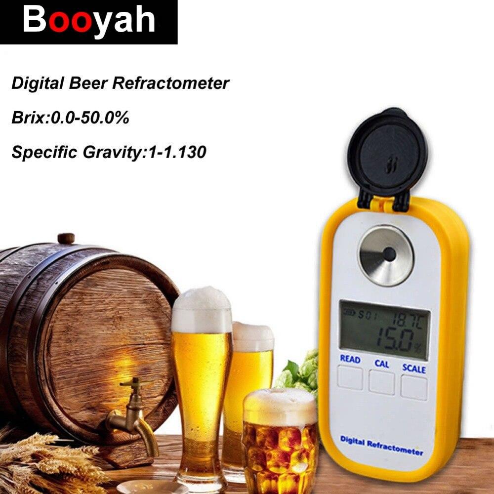 D'origine Booyah Test De La Bière Moût Hydromètre Brix 0-50 Réfractomètre Concentration Mètre 1-1.130SG Haute Qualité Électronique Numérique