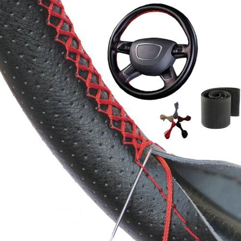 DIY Steering Wheel Covers 38CM Braid On Soft Leather Car Universal Steering Wheel Cover With Needle And Thread