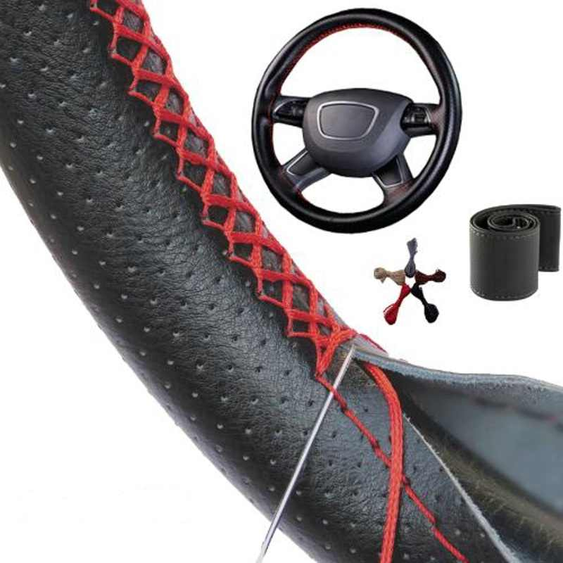DIY Steering Wheel Covers 38CM Braid On Soft Leather Car Universal Steering Wheel Cover With Needle and Thread