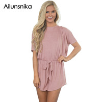 Ailunsnika Summer New Fashion Jumpsuit Casual Style Women Short Sleeve Playsuits Backless Lilac Dolman Romper DL64268