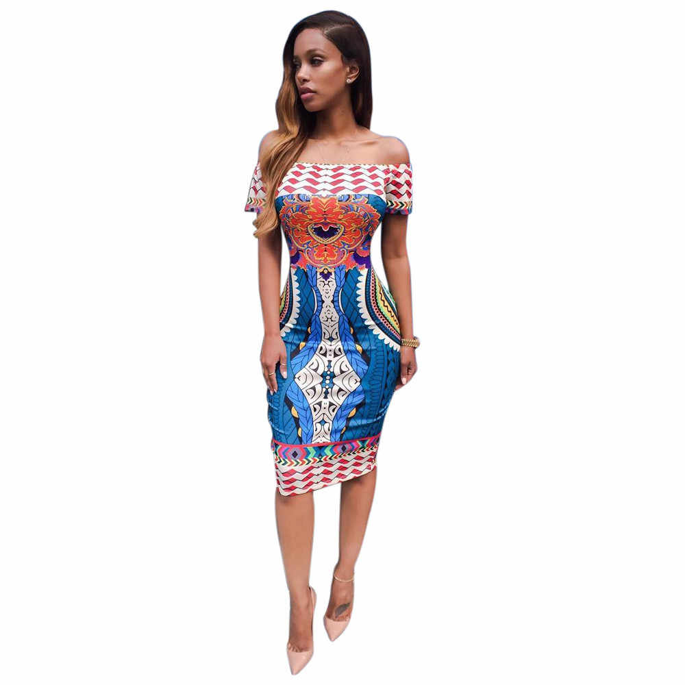 763a6d6706ca New Design Traditional African Print Dashiki Dress Sexy Slash Neck Boho Beach  Dress Women Casual Bohemian