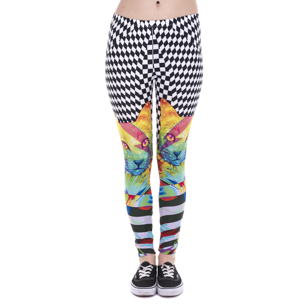 Fashion Women   Leggings   Colorful Hypnotic Cat Printed Leggins Fitness   Legging   Sexy High Waist Woman Pants
