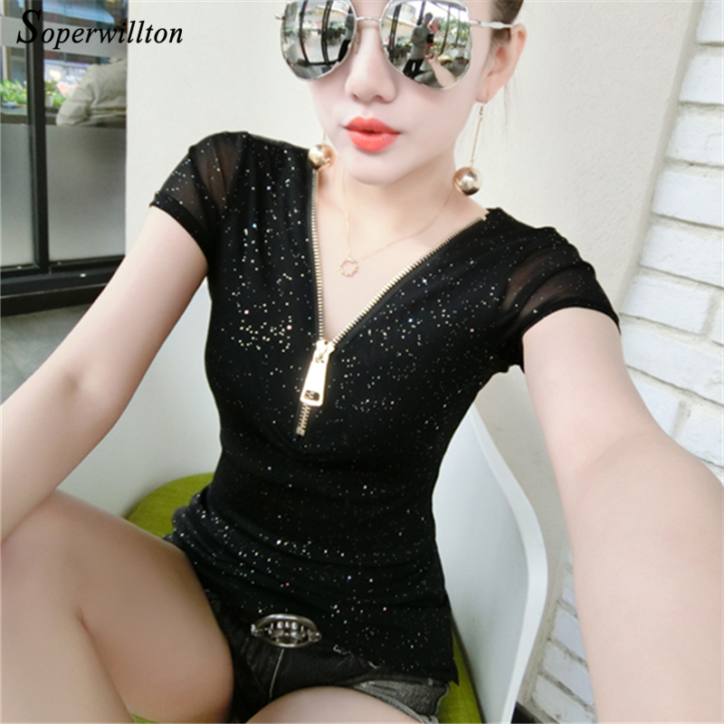 2018 New Plus Size Summer Blouses Women Sequined Shirts Top Sexy Low Cut Tops Korean Blouse Women Shirt Blusas lady clothes #B35