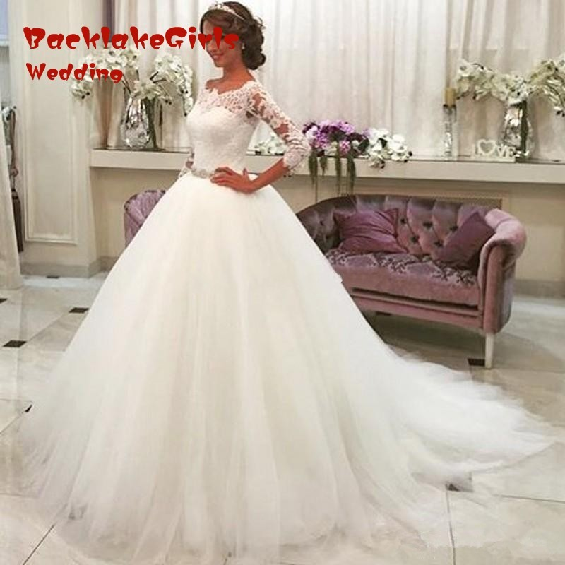 New Three Quarter Vestido De Noiva Scoop Neck Lace Ball Gown font b Wedding b font