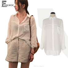 Nette Süße Tops Frauen Weibliche Temperament Blusen Shirts Langarm Casual  Arbeit Korea Design Transparent Weiß Taste 8b3f0da3cd
