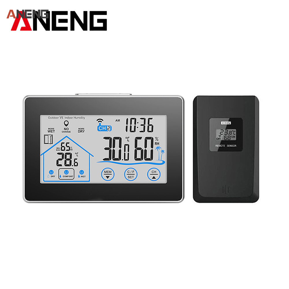 Touch Indoor Outdoor Weather Station Humidity Wall Clock <font><b>Temperature</b></font> Sensor Hygrometer Digital Wireless Room Thermometer