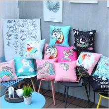 Unicorn series Fashion decor Pillowcase Car cushion pillowcase sofa decorative cushion case bedroom cute pillow 45x45cm unicorn cartoon car living room sofa bedroom cushion pillow case