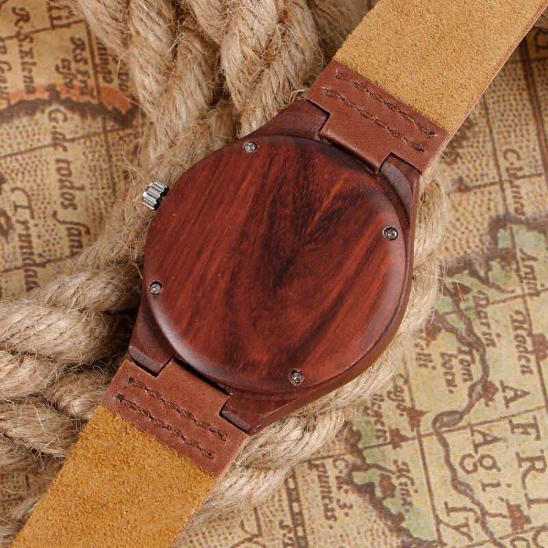 Unikalny czerwony klon Natrue Ręcznie robiony zegarek kwarcowy z - Męskie zegarki - Zdjęcie 4