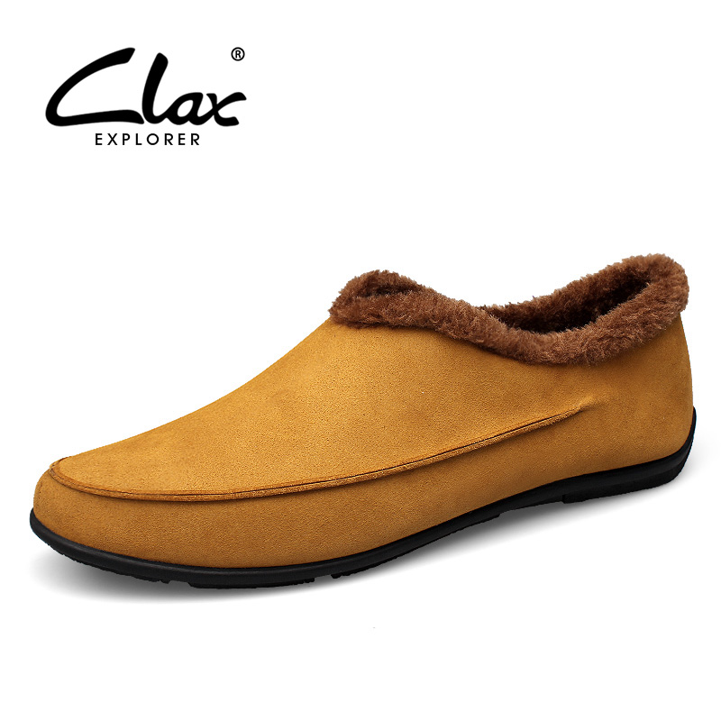 CLAX Men's Winter Shoes Casual Flat Loafer Fur Warm Shoe Male Suede Leather Footwear Slip on Plush Soft Comfortable Big Size soft sole baby first walker leather shoes infant toddler footwear anti slip cotton cute baby shoes girls winter warm 70a1048