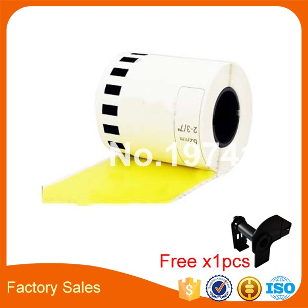 8 Refill Rolls Compatible DK 22606 Label Yellow Film Coated 62mm 15 24M Continuous Compatible for