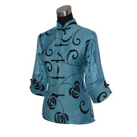 Hot Sale Chinese Traditional Lady Linen Shirt Summer Hollow Out Flower Vintage Blouse Tops Plus Size