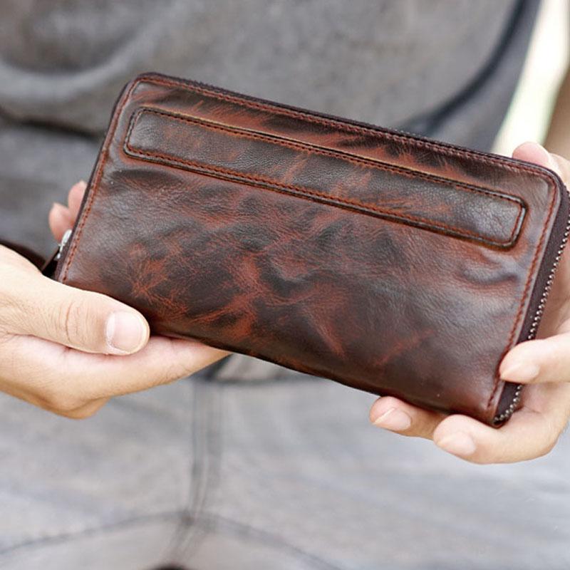 Große Handgemachten brown Schaffell Männer Brieftasche Handy Alt Alten Und Schwarzes Tragen Lange Frauen Tasche Kapazität Leder Bjyl wg8qt