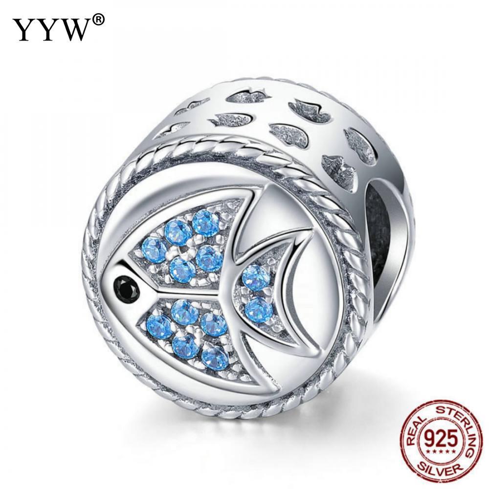 925 Sterling Silver Beads for Jewelry Making Thailand Sterling Silver Beads Fish for Women Charms Necklace Bracelets Jewellery