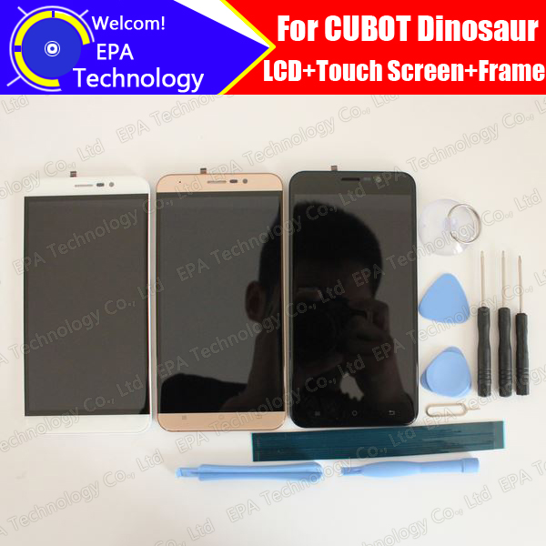 CUBOT Dinosaur LCD Display + Touch Screen Digitizer + Frame Assembly 100% Original New LCD + Touch Digitizer for Dinosaur+Tools 100% original lcd for htc one m7 lcd display touch screen digitizer glass assembly with frame black silver gold blue red tools