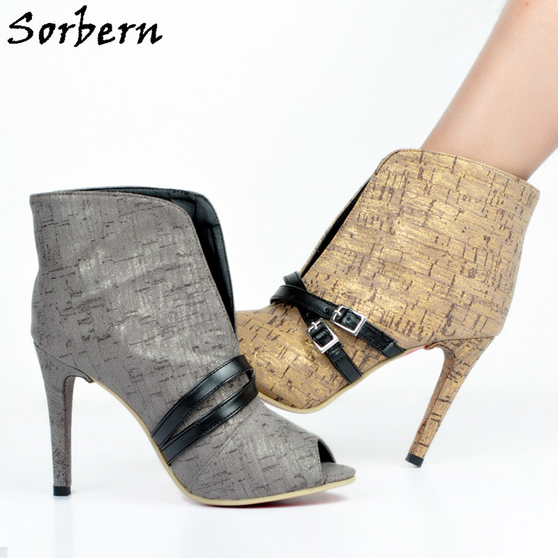 Sorbern Bling Bling Women Shoes Glitter Front Open Buckle High Heels Ankle Boots Spring Style Ladies Short Boots Open Toe 34-47 sorbern sexy red ankle boots for women open toe lace up front super high heels 2018 women ankle booties cowgirl girls shoes