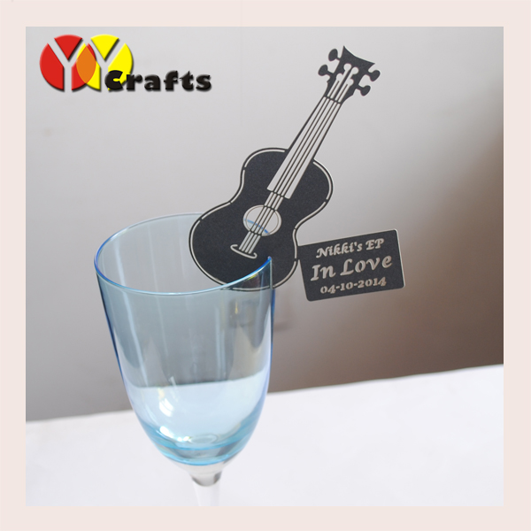 Hot sell uique guitar personalize place card holder wedding gift 3d laser cut wineglass place card seat card sample image