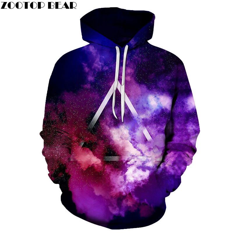 Purple Galaxy Space Triangle Mens Hoodies 3D Prints Hoodie Sweatshirt Drop Ship Hoody Pullover Plus Size ZOOTOP BEAR
