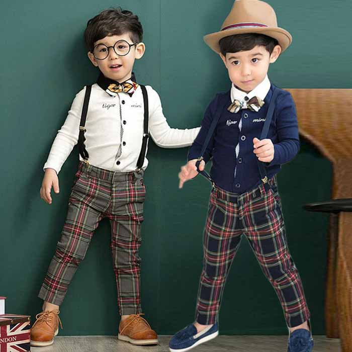 2015 new Kids Clothing Sets Long Sleeve T-Shirt + plaid  Pants, Autumn Spring Children's casual Sports Suit Boys Clothes