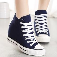 8 cm hauteur du talon femmes chaussures toile chaussures modèles de base de chaussures de sport