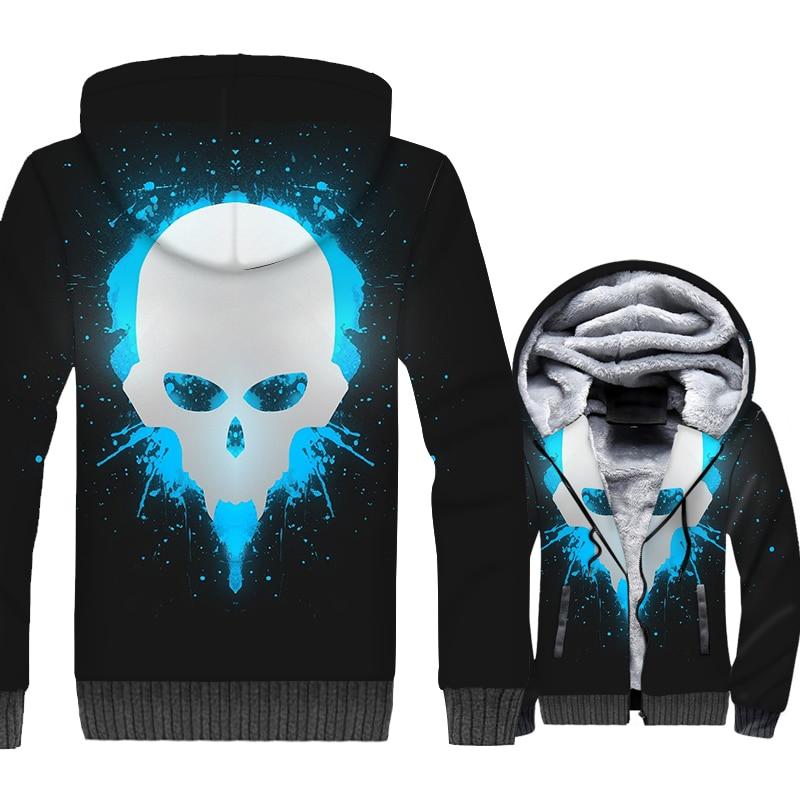 Game Sukll 3D Print Hoodie Men Hip Hop Hooded Sweatshirt Winter Thick Fleece Warm Zip up Coat Sweatshirt Jacket Brand Clothing